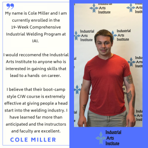 Testimonial quote and photo of young man