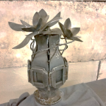 Metal vase with metal flowers