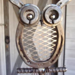 horseshoes and metal materials welded together to create an owl